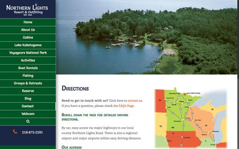 Screenshot of Maps & Directions Page nlro.com - Directions to Northern Lights Resort -Lake Kabetogama Lodge | Northern Lights Resort - captured Oct. 26, 2017