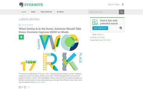 Screenshot of Blog evernote.com - Evernote Blog - Remember Everything. - captured March 16, 2017