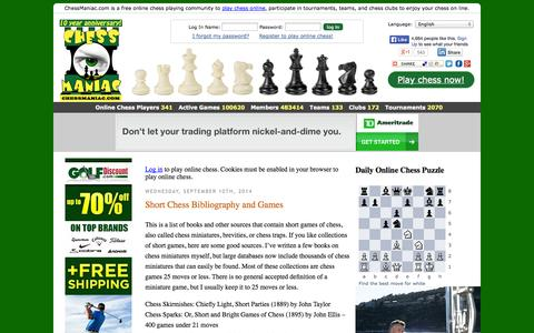 Screenshot of Home Page chessmaniac.com - ChessManiac - captured Sept. 23, 2014