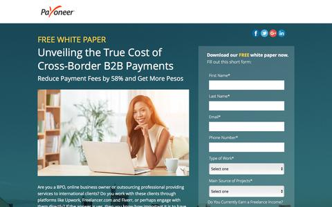Screenshot of Landing Page payoneer.com - Free White Paper: Unveiling the True Cost of Cross-Border B2B Payments - captured July 24, 2016