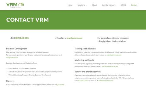 Screenshot of Contact Page vrmco.com - Contact Us | VRM Mortgage Services - captured May 25, 2019