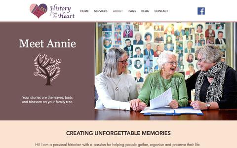 Screenshot of About Page historyfromtheheart.com.au - Meet Annie | Adelaide Australia | History from the Heart - captured July 20, 2018