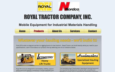 Screenshot of Products Page royaltractor.com - Royal Tractor Company, Inc. | Products - captured Dec. 20, 2016