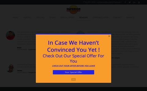 Screenshot of Testimonials Page superiorheat.com - HVAC Five Star Customers Reviews | Superior Heat Company - captured Nov. 5, 2017