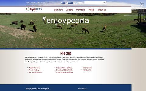 Screenshot of Press Page peoria.org - Peoria, Illinois - Convention & Visitors Bureau - Media - captured Jan. 26, 2016