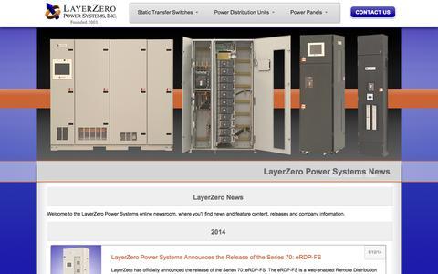 Screenshot of Press Page layerzero.com - News - LayerZero Power Systems, Inc. - Corporate - News & Updates 2014 - captured Oct. 2, 2014