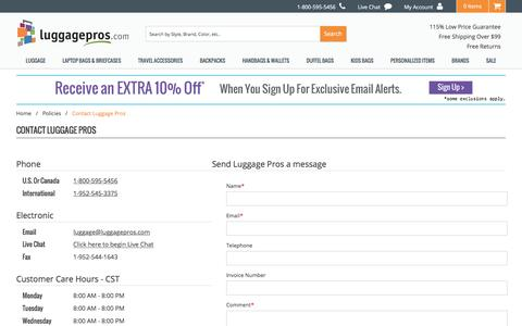 Screenshot of Contact Page luggagepros.com - Contact Us | Luggage Pros - captured May 22, 2017