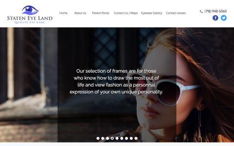 Screenshot of Home Page stateneyeland.com - Staten Eye Land   Eye Doctor Staten Island - captured Sept. 21, 2018