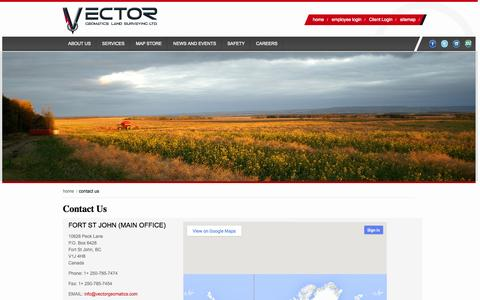 Screenshot of Contact Page vectorgeomatics.com - Contact Us - Vector Geomatics - Offices in Fort St John or Fort Nelson - captured Oct. 27, 2014