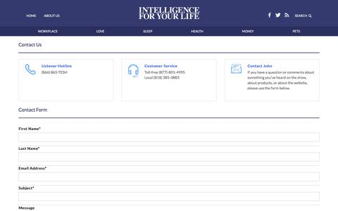 Screenshot of Contact Page tesh.com - Intelligence For Your Life - captured Nov. 30, 2016