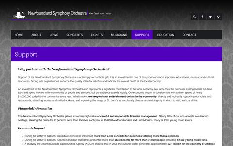 Screenshot of Support Page nsomusic.ca - Support  Newfoundland Symphony Orchestra - captured Oct. 26, 2014