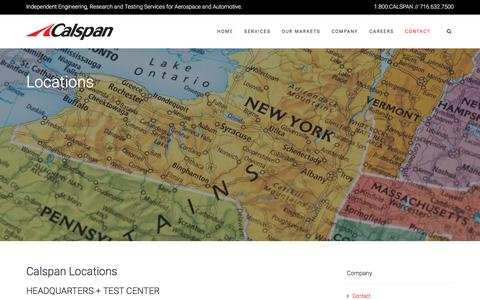 Screenshot of Locations Page calspan.com - Calspan Locations Throughout the United States - captured Sept. 26, 2018