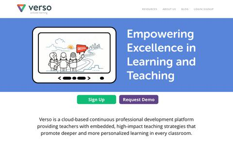 Screenshot of Home Page versoapp.com - Verso Learning   Activate Learning - captured July 28, 2017