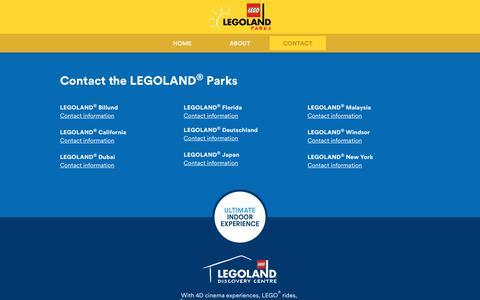 Screenshot of Contact Page legoland.com - Contact the LEGOLAND® Parks - captured Sept. 21, 2018