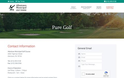Screenshot of Contact Page Maps & Directions Page allentowngolf.org - Allentown Municipal Golf Course | Public Golf Club in PA - Contact & Directions - captured Oct. 31, 2018
