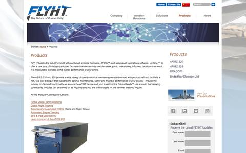 Screenshot of Products Page flyht.com - Products | FLYHT Aerospace Solutions Ltd. - captured Sept. 30, 2014