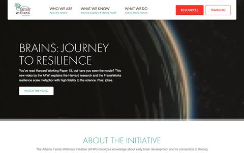 Screenshot of Home Page albertafamilywellness.org - Alberta Family Wellness Initiative – Building Better Brains » Alberta Family Wellness Initiative - captured Oct. 18, 2018