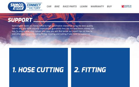 Screenshot of Support Page samcosport.com - Samco Sport | World's Largest Range of Direct Replacement Hose Kits. - captured Oct. 29, 2018