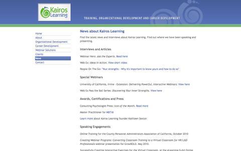 Screenshot of Press Page kairoslearning.com - Kairos Learning News - captured Sept. 30, 2014