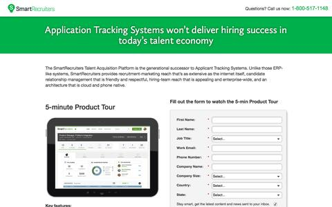 Screenshot of Landing Page smartrecruiters.com - SmartRecruiters | Applicant Tracking System - captured April 5, 2016
