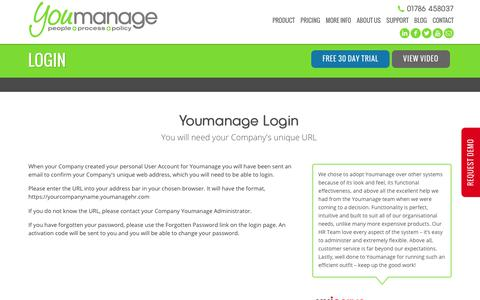 Screenshot of Login Page youmanage.co.uk - Youmanage Login - captured Nov. 5, 2017