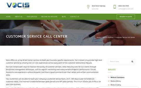 Screenshot of Support Page vocisinc.com - Customer Service Call Center in Louisville, Kentucky, USA - captured Sept. 20, 2018