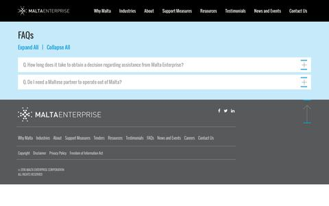 Screenshot of FAQ Page maltaenterprise.com - Frequently asked questions | Malta Enterprise - captured Oct. 1, 2016