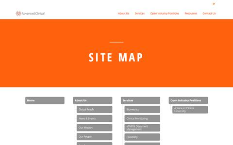 Screenshot of Site Map Page advancedclinical.com - Site Map | Clinical Research Organization | Advanced Clinical - captured Dec. 6, 2017