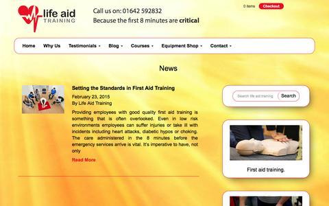 Screenshot of Press Page lifeaidtraining.com - News Archives - life aid training - captured Jan. 29, 2016