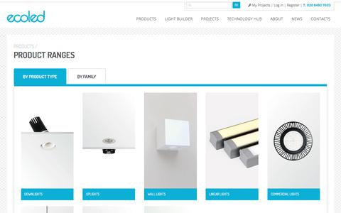 Screenshot of Products Page ecoledlight.co.uk - Product Ranges: LED Lights and Lighting from ECOLED - captured July 8, 2017