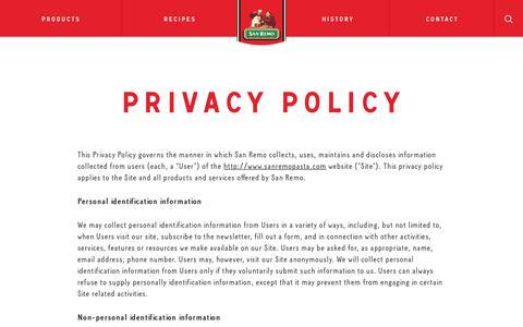 Screenshot of Privacy Page sanremopasta.com - Privacy Policy - San Remo - US - captured Oct. 2, 2018
