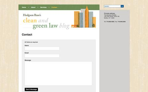 Screenshot of Contact Page cleanandgreenlaw.com - Contact Hodgson Russ Clean Tech Attorneys | Clean and Green Law Blog - captured Feb. 9, 2018