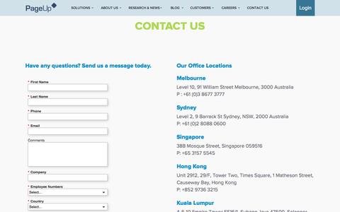 Screenshot of Contact Page pageuppeople.com - Contact Us - PageUp - captured June 17, 2015