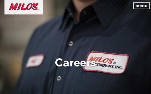 Screenshot of Jobs Page drinkmilos.com - Careers Archive - DrinkMilos.com - captured Aug. 24, 2016