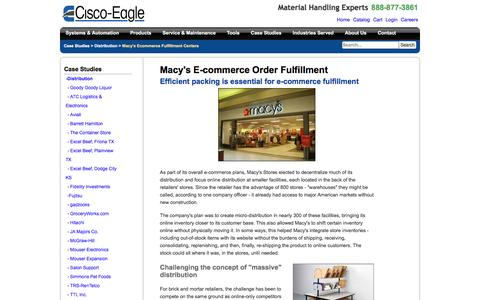 Screenshot of Case Studies Page cisco-eagle.com - Macy's In-Store Order Fulfillment Center | Packing Stations - captured Jan. 5, 2017