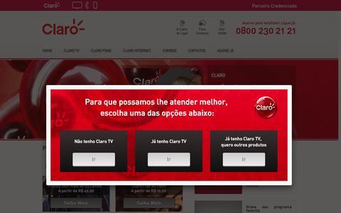 Screenshot of Home Page clarohdtv.net - Produtos da Claro. TV por Assinatura e Telefone Fixo. - captured Sept. 10, 2015