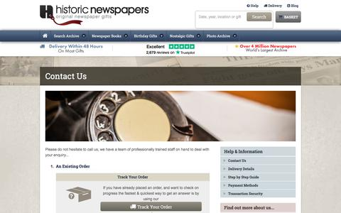 Screenshot of Contact Page historic-newspapers.co.uk - Contact Us - Historic Newspapers - captured July 20, 2018