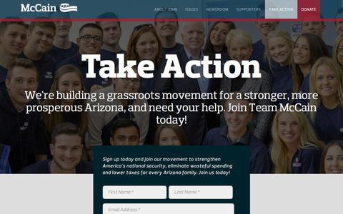 Screenshot of Contact Page Signup Page johnmccain.com - Take Action | Senator John McCain, Arizona - captured Feb. 12, 2016