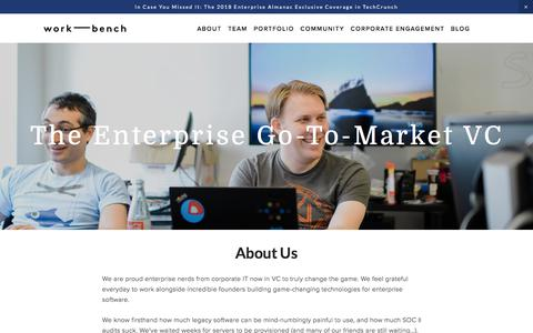 Screenshot of About Page work-bench.com - The Enterprise Go-To-Market VC — Work-Bench - captured Sept. 21, 2018