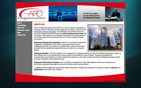 Screenshot of About Page apotx.com - About Action Professional Outsourcing - captured Oct. 4, 2014