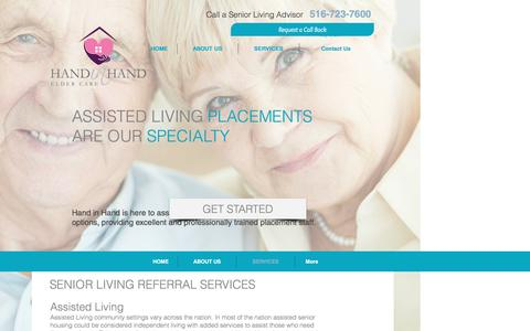 Screenshot of Services Page handinhandeldercare.com - Services provided by Hand in Hand Elder Care - captured May 10, 2017