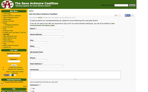 Screenshot of Signup Page saveardmorecoalition.org - Join the Save Ardmore Coalition | The Save Ardmore Coalition - captured Oct. 30, 2014