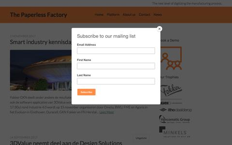 Screenshot of Press Page 3dvalue.nl - News – The Paperless Factory - captured Sept. 21, 2018