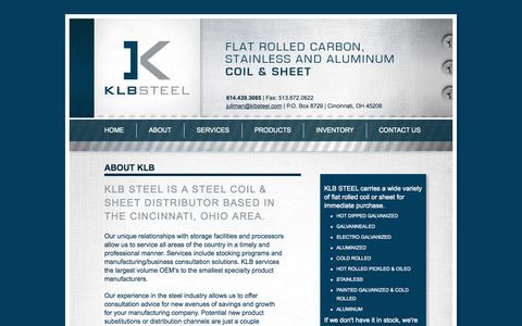 Screenshot of About Page klbsteel.com - About | KLB Steel - captured Oct. 27, 2014