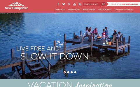 Screenshot of Home Page visitnh.gov - Visit NH : Welcome to New Hampshire - captured Sept. 1, 2015