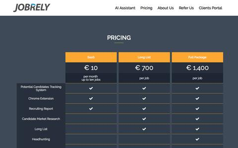 Screenshot of Pricing Page jobrely.com - Pricing - JobRely - captured Sept. 20, 2018