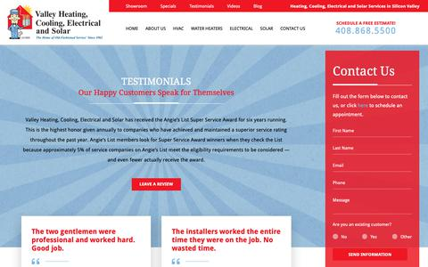 Screenshot of Testimonials Page valleyheating.com - Testimonials | Valley Heating, Cooling, Electrical and Solar in San Jose - captured Dec. 20, 2018