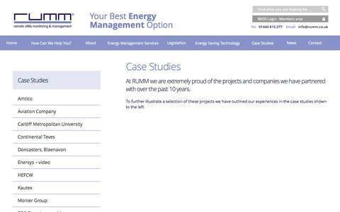 Screenshot of Case Studies Page rumm.co.uk - Energy Management Case Studies - RUMM - captured Oct. 9, 2014
