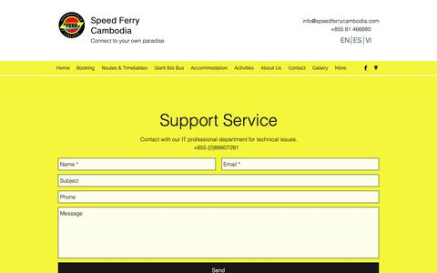 Screenshot of Support Page speedferrycambodia.com - Support | Speed Ferry Cambodia - captured Oct. 30, 2018