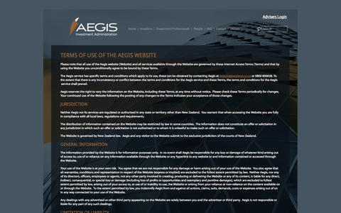 Screenshot of Terms Page aegis.co.nz - Terms of Use - AEGIS Investment Administration - captured Sept. 30, 2014